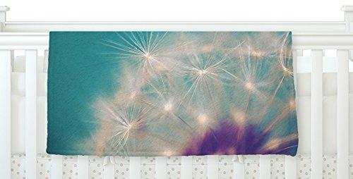 KESS InHouse Sylvia Cook Dandelion Seedhead White Aqua Fleece Baby Blanket 40 x 30 [並行輸入品]   B077YZQDP6