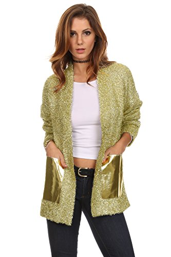 MeshMe Womens Garlette - Gold Yellow Sparkle Metallic Christmas Tree Holiday Nye New Years Eve Countdown Party Shiny Classic Tinsel Garland Style Fuzzy Long Sleeve Top Lightweight Jacket Cardigan -