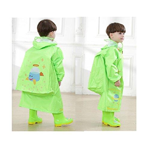 Raincoat Rainwear (YOUDirect Kids Raincoat - Girl Boy Carton Waterproof Hooded Rain Jacket Lightwight Children's Poncho Teens Rainwear with School Bag Cover (M (Fit 3.44~3.94ft Height), Green Airship))