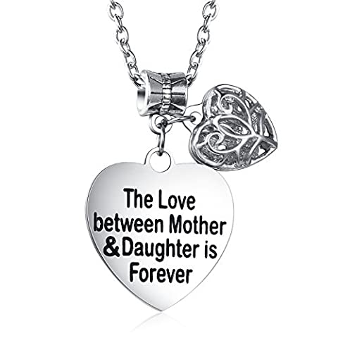Udobuy The Love Between Mother and Daughter Is Forever Heart Charm Necklace Mom Daughter Jewelry Best Mother's Day Gifts From - Mom Jewelry