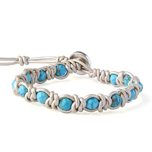 KELITCH Created Turquoise Woven Beads Bracelets Genuine Leather Wrap Bracelets Handmade Fashion Women Jewelry (White Blue)