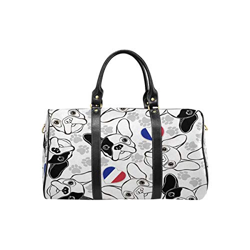 InterestPrint Waterproof Travel Bag Sports Duffel Tote Overnight Bag French Bulldog with Paw