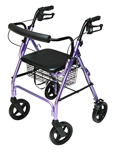 (Lumex Walkabout Four-Wheel Contour Deluxe Rollator with Eight-Inch Wheels, Lavender RJ4805L)