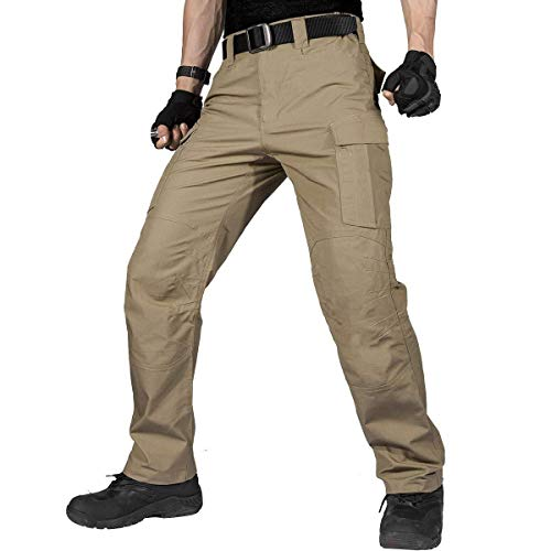 Urban Gear Wallets - FREE SOLDIER Men's Water Resistant Pants Relaxed Fit Tactical Combat Army Cargo with Multi Pocket(Brown-Upgrade 30W/31L)