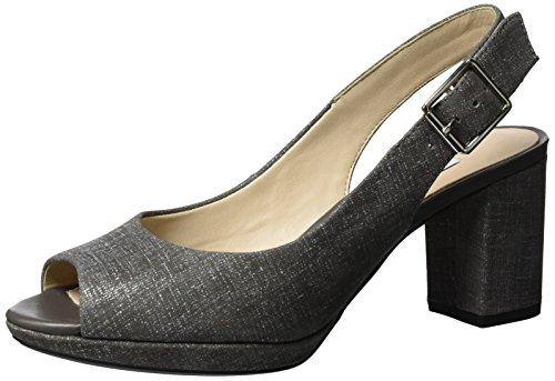 Clarks Kelda Spring, Sandalias con Cuña para Mujer Gris (Dark Grey)