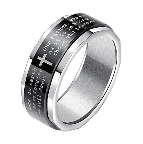UNAPHYO Men's Stainless Steel Bible Verse Lord's Prayer Cross Ring Black Silver Spinner Wedding Band Size 8