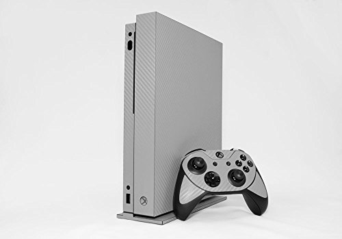 Microsoft Xbox One X Skin (XB1X) - NEW - 3D CARBON FIBER SILVER - Air Release vinyl decal faceplate mod kit by System Skins