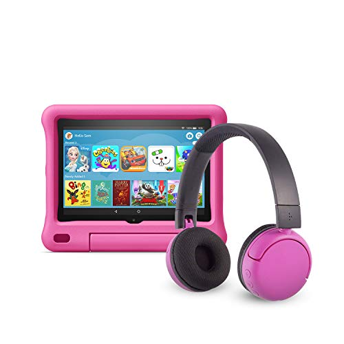 All-new Fire HD 8 Kids Edition tablet (32 GB, Pink Kid-Proof Case) + BuddyPhones Headset, Pop Time in Pink (Ages 8-15)