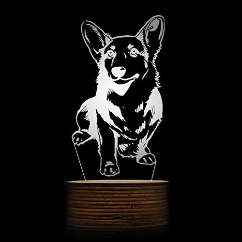 Novelty Lamp, Night Light 3D LED Lamp Optical Illusion Corgi Dog, 16 Color Remote Control Changes, with USB Charging Connector, Children's Birthday Gift Bedroom Decoration,Ambient Light by LIX-XYD (Image #2)