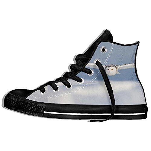 Classiche Sneakers Alte Scarpe Di Tela Anti-skid Snowy Flying Owl Casual Walking Per Uomo Donna Nero