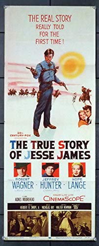 The True Story Of Jesse James (1957) Original U.S. Insert Movie Poster 14x36 Folded ROBERT WAGNER JEFFREY HUNTER HOPE LANGE Film directed by NICHOLAS RAY (The True Story Of Jesse James 1957)