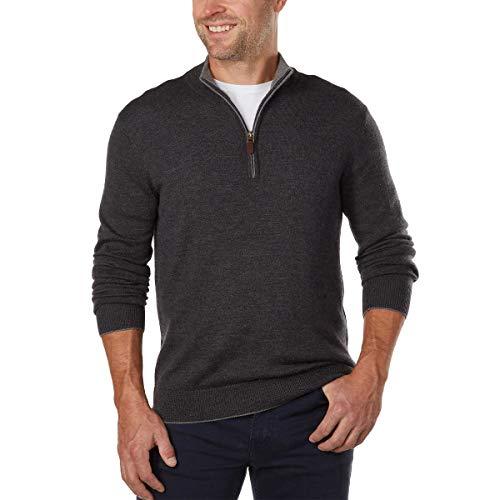 (Kirkland Signature Men's Extra Fine Merino Wool ¼ Zip Sweater (Large, Gray))