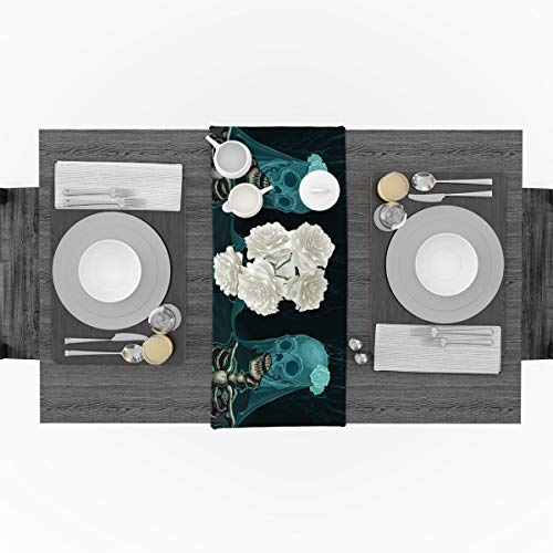 Cotton Linen Table Runner for Party, Halloween Skull Corpse Bride Runners Party Supplies Home Decorations for Kitchen Dining Room Wedding Birthday Decoration & Everyday Use, 18 x 72 -