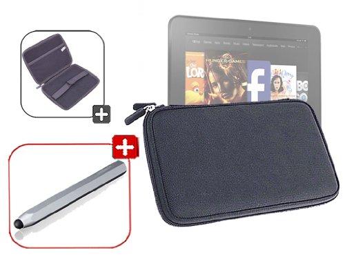 DURAGADGET-Housse-tui-rsistant-en-EVA-Rigide-Noir-Stylet-Gris-Argent-en-Aluminium-lger-Forme-Crayon-pour-Nouvelle-Tablette-Kindle-Fire-7-dAmazon--Garantie-5-Ans