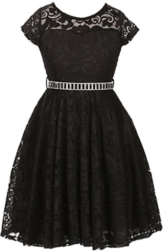 Flower Girl Dress Cap Sleeve Jewel Belt Floral Lace All Over for Big Girl Black 10 JK19.88S