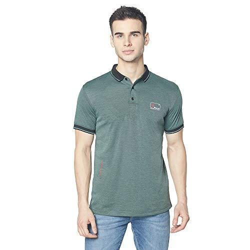 Oswal Men's Cotton Blend Half Sleeve Collar T-Shirt Green Size L
