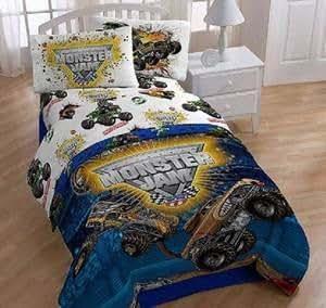Amazon Com Monster Jam Truck Twin Comforter Sheets Panels Pillow Blanket Complete Room