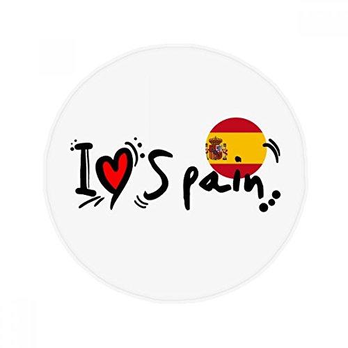 DIYthinker I Love Spain Word Flag Love Heart Illustration Anti-slip Floor Pet Mat Round Bathroom Living Room Kitchen Door 60/50cm Gift by DIYthinker