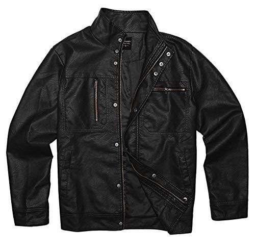 (COOFANDY Men's Leather Vest Motorcycle Zipper Biker Racing Waistcoat (X-Large, Black(Long Sleeve)))