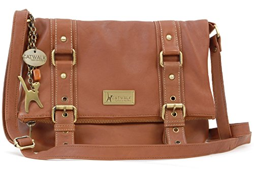 Catwalk Collection Leather Cross-Body Bag - Abbey Road Tan