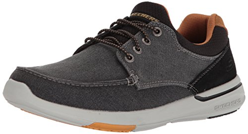 Skechers Men's Relaxed Fit-Elent-Mosen Boat Shoe,black,8 M US (Best Skechers For Walking On Concrete)
