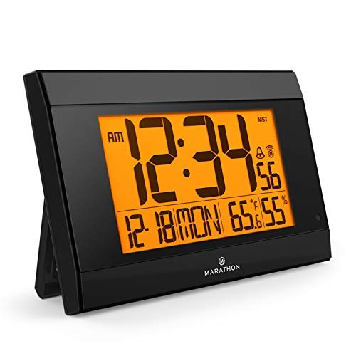 (Marathon CL030052BK Atomic Wall Clock with Auto Back Light Feature, Calendar, Temperature, Humidity and Big 2 ½ Inch Digits. Large Capacity C Cell Batteries Included. Color-Black.)