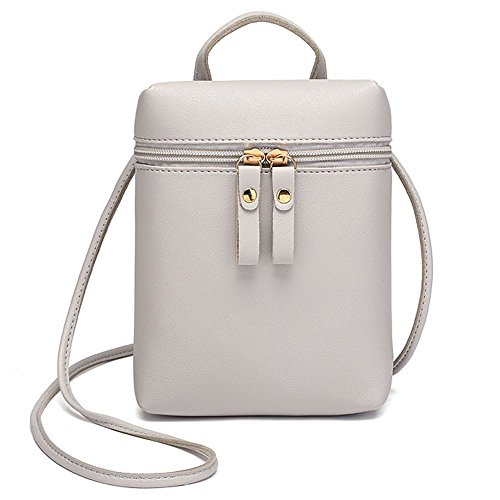 Crossbody LAPOPNUT Leather Grey Over Body Women Mini Travelling Holder Coins Handbags Keys Shoulder Bag Phone Bags PU Cross Pouches Bag for Shopping Girls Ladies for Messenger wr4tyrEq