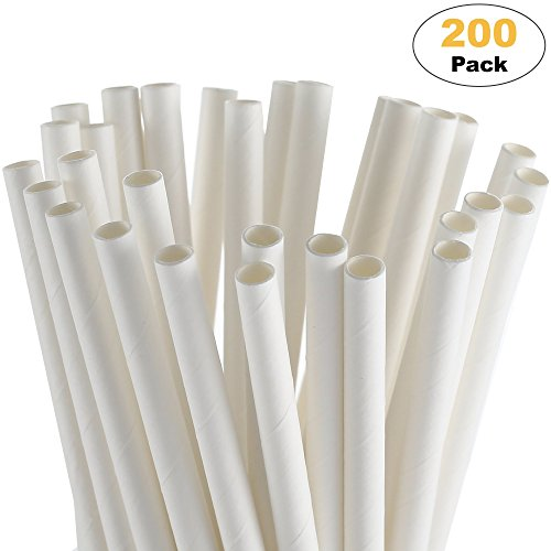 Paper Straw Disposable White 200 Pack Drinking Straws Paper Party Straws Biodegradable Christmas Straws Halloween Straws Coffee Bridal Shower Decorations For Birthday Wedding Holiday Celebration -