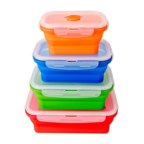 KaraMona Premium Microwave Lunch Box For Kids & Adults Set of 4 FDA Approved, Food Storage Containers With Lid, BPA Free Silicone Lunch Containers For Microwave, Silicone Tupperware Lunch Box