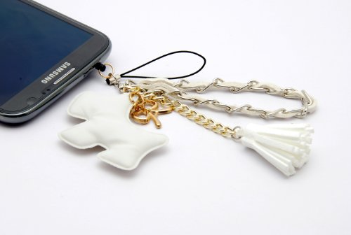 ZZYBIA® NOTE II PD w Orange Leatherette Stand Case Card Holder Wallet with White Dog Fringed Dust Plug Charm for Samsung Galaxy Note 2 II N7100 N7105
