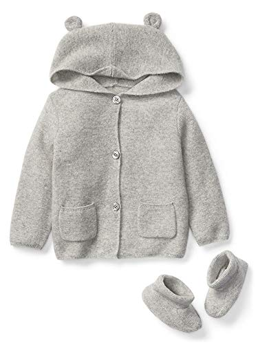 GAP Baby Boys Girls Bear Cashmere Cardigan Sweater & Booties 6-12 Months Navy Blue ()
