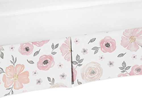 Sweet Jojo Designs Blush Pink, Grey and White Baby Girl Pleated Crib Bed Skirt Dust Ruffle for Watercolor Floral Collection by (Sweet Pleated)