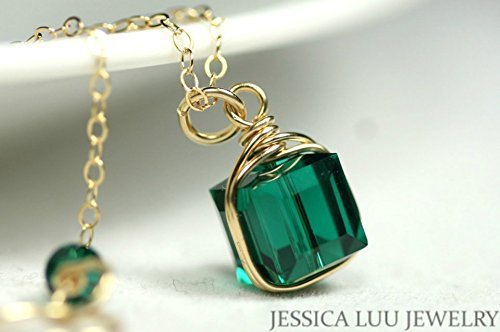 (Gold Emerald Necklace Green Swarovski Crystal Necklace and Earrings Set Gold Wire Wrapped Yellow or Rose Gold)