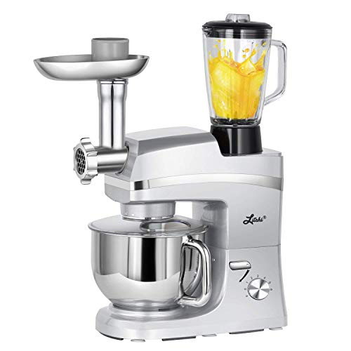(Litchi 5.3 Quart Stand Mixer, 6 Speed Tilt-Head Stand Mixer with Meat Grinder, Blender, Sausage Stuffer, Pasta Dies, Dough Hook, Mixing Blade, Flat Beater, Whisk and Pouring Shield,)