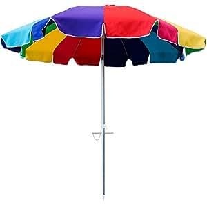 Snail 8 ft 16 Panel Jumbo Vented Fiberglass Tilt Beach Umbrella w/Sand Anchor