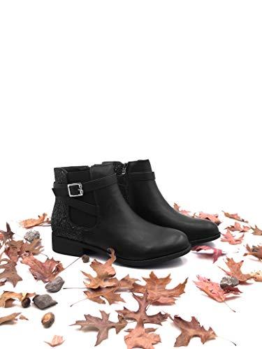 Boots Cinghie Scarponcini Donna Blocco 3 Biker Fibbia Angkorly Nero Stivaletti A Scarpe Incrociate Tacco Cm Moda Paillette Chelsea Xqx1tBvw