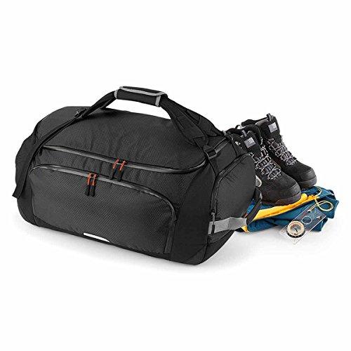 QUADRA-Borsa sportiva trasformabile in zaino, Zaino da viaggio, 60 litri, QX560, colore: nero, misto uomo/donna