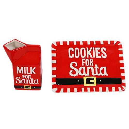 DEI Cookies and Milk for Santa Plate and Milk Container Holiday Set (Personalized Cookies For Santa Plate)