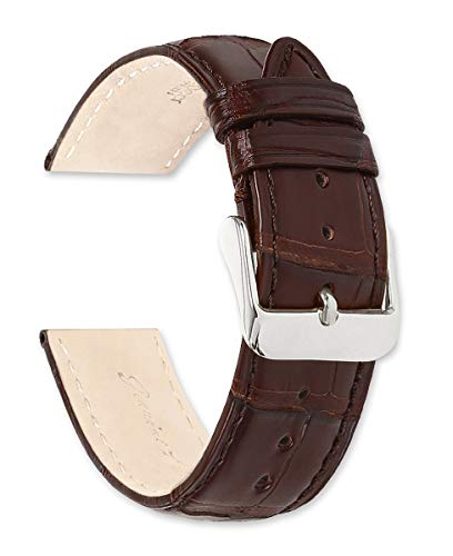 Genuine Alligator Watch Band Silver Gold Buckle – Brown 20mm
