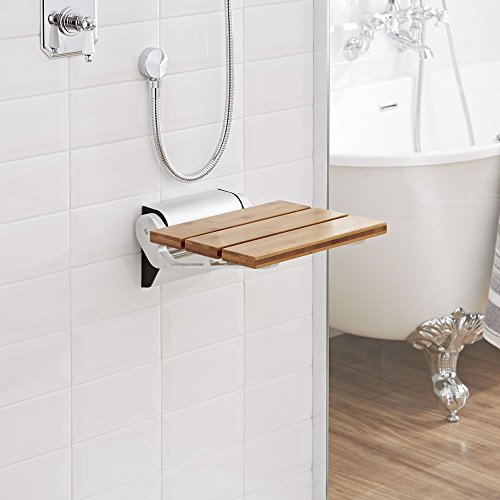 outlet Modem Bamboo Wooden Folding Shower Seat - Chrome Hinges & Narrow Base - Solid Wood Bath Accesory - Wall Mounted - Fold Down Designer Spa Bench