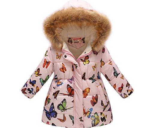 (Miss Bei Girl's Kids Toddler Winter Flower Print Parka Outwear Warm Cotton Coat Hooded Jacket Pink All butterfly120)