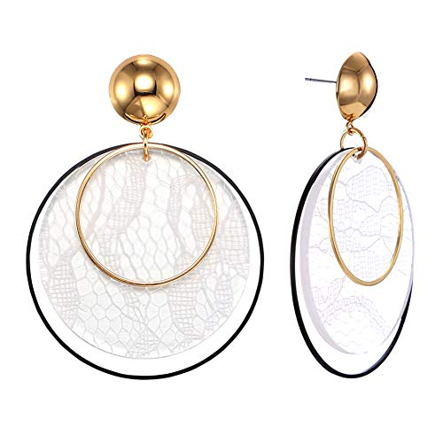 FAMARINE White Acrylic Drop Earrings, Statement Clear Resin Lucite Lace Print Round Circle Gold Earrings for Wome