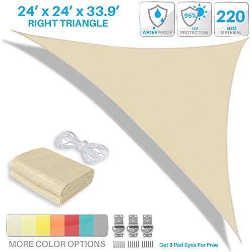 Patio Paradise 24 x 24 x 33.9 Waterproof Sun Shade Sail-Beige Triangle UV Block Durable Awning Canopy Outdoor Garden Backyard