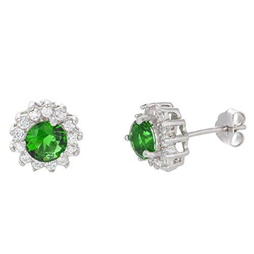 18K White Gold Over Sterling Silver Flower Stud Post Earring (Emerald)