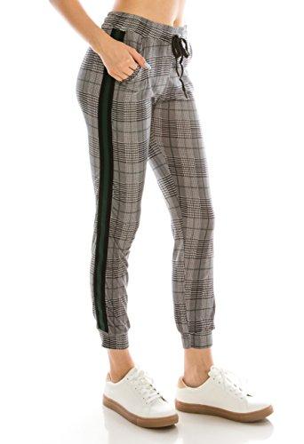 Womens Plaid Pants - ALWAYS Women Drawstrings Jogger Sweatpants - Super Light Skinny Fit Premium Soft Stretch Plaid Checkered Pockets Track Pants Green L/XL