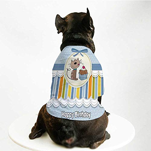 YOLIYANA Birthday Decorations for Kids Breathable Pet Suit,Present Wrap Like Image Chocolate Cake Cat Party for Small Dog Teddy Chihuahua ()