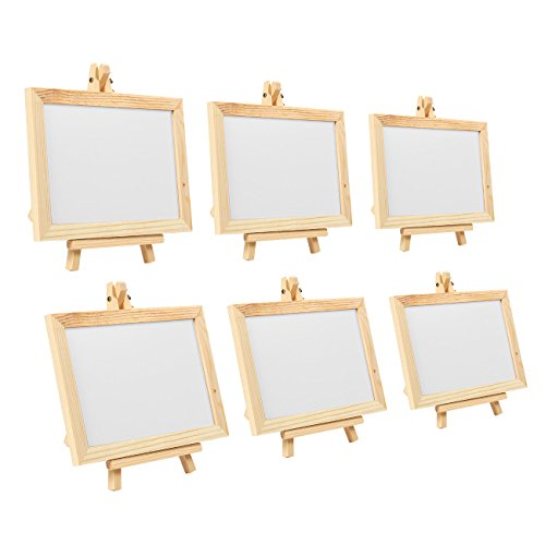 Mini Message Board - 6-Pack Wooden Framed White Chalkboard Sign with Easel Stand for Colored Chalk and Liquid Chalk Markers, 7 x 7 x 4.25 Inches Assembled