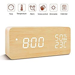 Wooden Alarm Clock, Adjustable Brightness Voice Control Digital Desk Alarm Clock, Large Display Time & Date & Humidity & Temperature USB Battery Powered for Bedroom, Kids, Home, Office, Bamboo