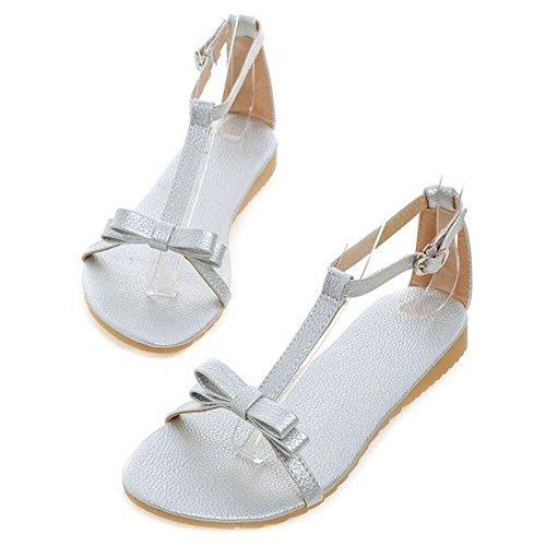 Sandaler Komfortable Og Sjjh Søt Flate farger Sløyfe Med Sko Sølv 4 5wwq87U
