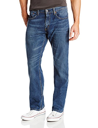Button Fly Blue Jeans (Levi's Men's 559 Relaxed Straight Fit Jean - 36W x 34L - Steely Blue - Stretch)